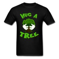 ingrosso calzamaglia verde dei ragazzi-Hug A Tree Design Top T Shirt Cotone Estate O Collo T Shirt Fitness Tight Tee Shirts Divertente Green Plant Print T-shirt per ragazzo