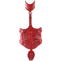 tam deri koşum takımı toptan satış-DERI HARNESS Tam Vücut Seti Esaret Lingerie gerdanlık demeti Goth Kırmızı Kadın Giyim