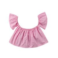 ingrosso camicia da bambino-Moda bambina appena nata Camicetta estiva manica corta Solid Girl Top Princess Girl Ruffle Off Shoulder Crop Top