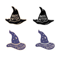 Wholesale wholesale witch balls for sale - 2018 European and American new accessories witch magic hat brooch cartoon drop oil Brooch