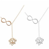 Wholesale gold lotus necklace - Silver Gold Infinity lotus Necklace Flower Lotus Pendant Chains Fashion Jewelry Women Kids Necklace Gifts DROP SHIP 162634