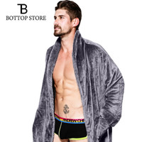 Wholesale men baths - 2018 New Men Flannel Bathrobe Sleepwear Thicken Bath Robe Male Dressing Gowns Man Pajamas Warm Nightwear Man Nightdress Men XL