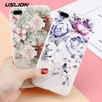 Wholesale USLION D Relief Flower Phone Case For iPhone XS Max XR X Plus Floral Cases For iPhone S Plus s SE Soft TPU Back Cover