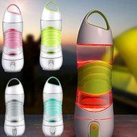 Wholesale led lights for plastic cups - New DIDI Remind Drink Water Bottle LED Outdoor Sport Mug Cup For Spay Moisturizing light Night Sos Emergency Kettle 4 Color WX9-232