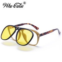Wholesale Retro Steampunk Flip Up Glasses - WHO CUTIE Brand 2018 McQregor Aviator Style Flip Up Sunglasses Vintage Retro Steampunk Yellow Clip On Sun Glasses Men Women 487