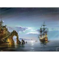 acrílico pintura paisajes marinos al por mayor-Paisaje marino imagen de acrílico diy pintura digital por números arte de la pared moderna pintura de la lona regalo único para la decoración del hogar XC-020