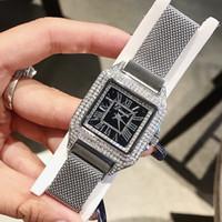 ingrosso cinture di ferro signore-DIMINI Square Diamond Modelli femminili Acciaio inossidabile Milan Iron Mesh Belt Orologio da donna Roman Star Fashion Ladies Watch
