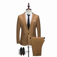 модный свадебный мужской костюм оптовых-LASPERAL 2018 Men Suit Fashion Solid Suit New Casual Slim Fit 2 Pieces Mens Wedding Suits Male Plus Size 3XL Jacket Coat Pant