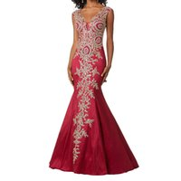robes de soirée en or achat en gros de-2019 vente en gros de femmes en dentelle or appliques sirène robes de soirée sexy col v longue robe de bal robe de soirée robes longues pour les femmes
