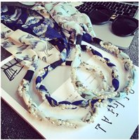 hermoso cabello tejido al por mayor-Hermosa y elegante perla tejida con cinta perforadora para el cabello con una cinta multiusos Bohemian Floral Ribbon Hair Hoop Bead Bead