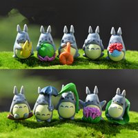 ingrosso figurine di plastica in miniatura-Mini Totoro Statue Garden Miniature Figurine fai da te Micro Moss Paesaggio Decorazione Plastica 100pcs / lot T2I121