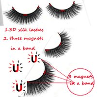 Wholesale Eyelash Kit Glue - 3D silk eyelashes 3 Magnets Eyelashes No Glue Eyelashes Magnet 3D Individual Eyelash Lashes Makeup Kit Gift 3D magnetic eyelash