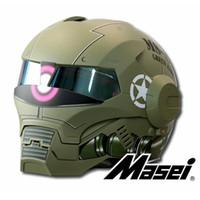 зелёные открытые мотоциклетные шлемы для лица оптовых-MASEI Matte Dumb Green Zach NEW style 610 motorcycle helmet IRONMAN Iron Man helmet open face casque motocross