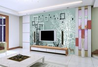 Wholesale Paper Silhouettes - The custom 3D murals 3 d nostalgic abstract hand-painted tree elk silhouette living room sofa TV wall bedroom wall paper