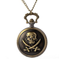 Wholesale Skeleton Watch Necklace - New Vintage Bronze Quartz Pocket Watch Skeleton pocket watch Retro Pendant necklace women men birthday Christmas gift 2017