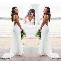 Wholesale pink lace applique - Sexy Beach Country Style Lace Mermaid Wedding Dresses Boho Backless Deep V Neck Backless Wedding Dress Cheap Bridal Gowns Simple Wear