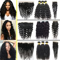 Wholesale Kinky Curly Hair Pieces - Brazilian Hair Bundles with Frontal Human Hair Kinky Curly,Water Wave,Deep Wave Weaves with Closure Peruvian Indian Malaysian Cambodian Hair