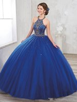 Wholesale New Year Vintage Dresses - 2018 New Golden Beaded Halter Quinceanera Dresses Backless Lace-up Puffy Skirt Prom Dress Gown For 15 Years Dress