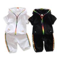 ingrosso bambini indumenti per bambini-Abbigliamento estivo in cotone per bambini Neonati maschietti Felpe con cerniera colorate in caramello Short 2 Pz / set Pantaloni maniche corte per bambini Twinsets