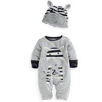 niños mameluco león al por mayor-2018 Nuevos bebés ropa para niños Ropa de algodón Tigger Lion Zebra Panda Conejo Mono recién nacido Sombreros + Romper Sets