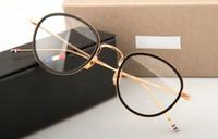 armações de óculos carro titular venda por atacado-Thom marca óculos armações de metal TB905 homens mulheres Oculos óculos de prescrição Do Vintage óculos de Leitura Redonda com caixa