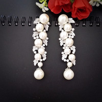 Wholesale Ba Gold - pearl drop earrings with AAAA crystals brown clear white BA-120 PROMOTION Beauty paradise@Rihood Jewelry 2 colors