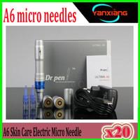 Wholesale korea roller needle resale online - 20pcs Derma pen High Quality Dr pen Ultima A6 Auto Electric Micro Needle pen batteries Rechargeable korea dermapen derma roller ZY A6