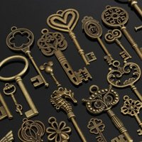 Wholesale Fancy Necklace Sets - 1 Set of 69 pieces Antique Vintage Old Look Bronze Skeleton Keys Fancy Heart Bow DIY Necklace Pendant