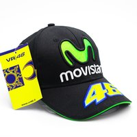 Wholesale 3d letter snapback - 2018 Rossi VR46 Baseball Cap MOTO GP Motorcycle 3D Embroidered Racing 46 Hat Men Women Snapback Cap Sun Brand Hats Bone