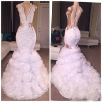 Wholesale Fall Evening Wear - Sexy Designer White Mermaid Prom Dresses 2018 Plunging V Neck Puffy Skirt Lace Applique Criss Cross Backless Long Party Gowns Evening Wear