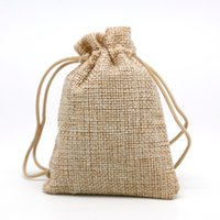 Wholesale mini sachets - 50pcs Lot 7x9 Linen Bag Drawstring Wedding&Christmas Packaging Pouchs & Gift Bags Small Jewelry Sachet &Mini Jute bags
