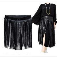 boş etekler toptan satış-Uzun Püsküller Elbise Hippie Boho Saçak Kadın Bayanlar Siyah Beyaz Ayarlanabilir PU Çingene Kemer Seksi Eğlence Etek Saf Renk Moda 25 2y ...