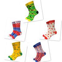 chaussettes drapeau national achat en gros de-1 paire USA CANADA Brésil National Flag Chaussettes en coton Chaussettes pour hommes MS-022