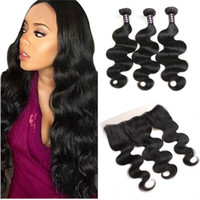 Wholesale hair weave bundle deals online - Hot Sell Brazilian Virgin Hair Straight With Ear to Ear Lace Frontal Closure BodyWave Virgin Hair x4 Frontal With Bundles Deals