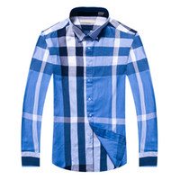 Discount new fashion dress blouse - 2018 100% cotton plaid Fashion Mens Shirts Cotton Long Sleeve Casual Shirt Tops Floral New Brand Dress Men Blouses Shirt Big Size