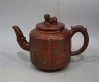 Wholesale Antique Gu - Antique collection Folk Art China Yixing Zisha Teapot Hand carved Hand carved Lion cover painting landscape purple teapot Kung Fu teapot Gu