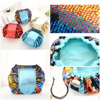 Wholesale dropshipping fashion bags - Mermaid Sequin Vely Magic Travel Pouch Bag Glitter Sequin Cosmetic Womens Makeup Bag Organizer Storage Drawstring Bags Free Dropshipping