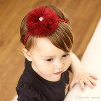 Wholesale hair designs for girls - Flower Girl Headbands Toddler Head Flowers Hair Accessories new design lace headband for Kids Elastic Hairbands Child Hair KHA669