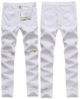 jeans blancos al por mayor-Nuevo Para hombre Pantalones vaqueros desgastados blancos Algodón Elasticidad apenada Diluyente Carga Cremallera Sobre la rodilla Hip-Hop Pantalones de mezclilla masculinos