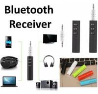 bluetooth telefon jakı toptan satış-Klipsli Evrensel 3.5mm Bluetooth Araç Kiti A2DP Kablosuz Verici AUX Ses Müzik Alıcısı Adaptörü Telefon Için Mic ile Handsfree Jack