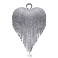 sac à main en strass achat en gros de-Coeur Conception Gland Strass Femmes Embrayages Cristal Doigt Chaîne Épaule Chaîne Sacs À Main Pour La Fête De Mariage De Mariée Bourse