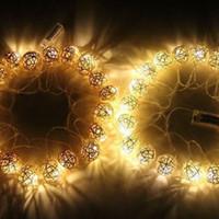 ingrosso luci fiabe rosse a spina-20 Beads / set Rosa Grigio Rosso Tono Matrimonio palla di cotone String Plug Fata luci Party casa Patio Matrimonio Romantico arredamento String