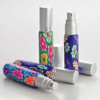 glaszerstäuber sprühflaschen großhandel-10ML Portable Polymer Clay Leere Parfüm Sprühflasche Nachfüllbare Ätherisches Öl Glas Zerstäuber Flasche Zufällige Farbe kostenloser versand