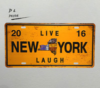 Wholesale wall poster new york - DL- NEW YORK LIVE LAUGH License plate art poster Tin Metal Sign for shop cafe bar garage wall decor