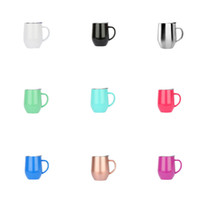 Wholesale Travel Mugs Handles - 9oz Egg Cup wine glass With Handle Stainless Steel Cups Fashion Egg Shaped Wine Glasses Travel Beer Mugs Tumblers With handle