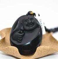 pendentif collier de jade noir achat en gros de-QIANXU Noir Obsidienne Bouddha Collier Pendentif Jade Pendentif Jade Bijoux Fine Jewelry