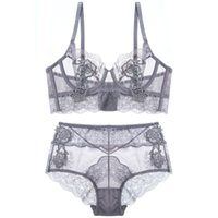 Wholesale Transparent Waist Back - Floral embroidery sexy lingerie lace female intimates ultrathin cup women fashion bra set transparent bras tall waist panties
