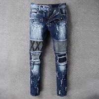 Wholesale size 38 ripped jeans - Men's Distressed Ripped Biker Jeans US Size 28~42 Slim Fit Motorcycle Biker Denim For Men Fashion Designer Hip Hop Mens Jeans Good Quality