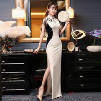 chinesische polyester-troddel großhandel-Tassel Long Split Sexy Cheongsam Kleid Elastische Samt Qipao Chinese Traditional Dress Elegante Mädchen Robe Oriental Style Kleider