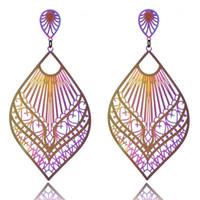 Wholesale earrings indian tassel - Stainless steel Dangle earrings 2018 new fashion Luxury boho big Double color Leaves long tassels drop Earring for women Jewelry in stock